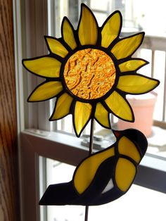 Stained Glass Sunflower and Gold Finch by RedfordGlassStudio, $32.50