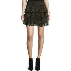 Iro Dicie Tiered Chiffon Camo Skirt ($350) ❤ liked on Polyvore featuring skirts, elastic waist a line skirt, flounce hem skirt, chiffon skirt, elastic waist skirt and chiffon knee length skirt
