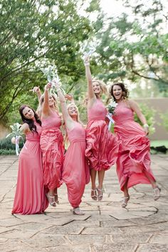 Bridesmaid photo idea. Coral and Green South African Wedding // D'amor Photography