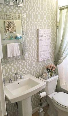 A DIY stenciled bathroom using the Trellis Allover Stencil. http://www.cuttingedgestencils.com/allover-stencil.html