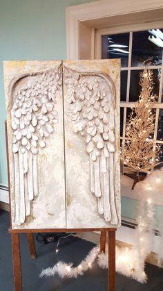 Mixed Media Angel wings on canvas by Arlene Carey