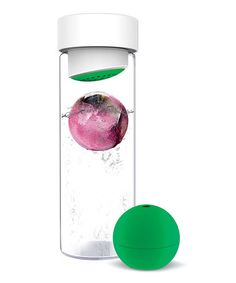 Give ordinary water a burst of fresh flavor with this clever bottle. The included silicone ball is perfect for freezing fruit and more to infuse water and keep it icy cold. See how it works Infused Water Bottle, Glass Water Bottle, Glass Bottles, Freezing Fruit, Freeze Ice, Best Fruits, Bottle Design, Kitchen Gadgets, Kitchen Stuff