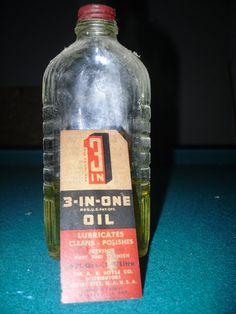 very old 3 in 1 oil vintage glass bottle by