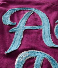 2 layer twill applique w/ double bean stitch