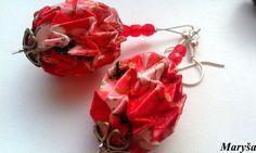 Origami Ball earrings in red Magic Ball Origami by MarysaArt