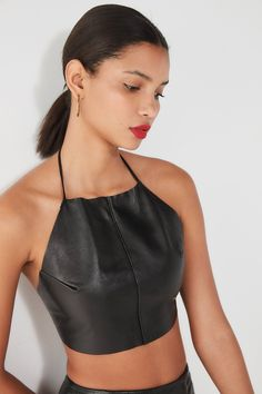 Urban Renewal Remade Leather Halter Tank Top   Urban Outfitters