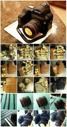 Camera Cake Inspiration - Cake It To The Max Cake Decorating Techniques, Cake Decorating Tutorials, Pretty Cakes, Cute Cakes, 3d Cakes, Cupcake Cakes, Camera Cakes, Decoration Patisserie, Sculpted Cakes
