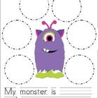 Describe the monster using the adjectives. Write one sentence, using two of your adjectives....