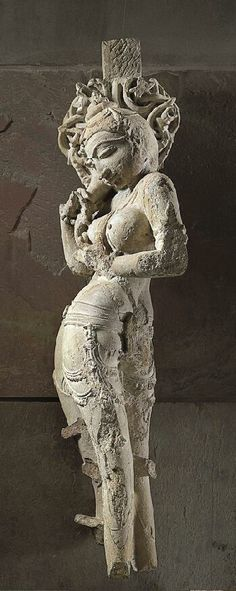 """11th C. Sensual Celestial Female Carved with transparent delicately ornamented attire on her legs. Limestone 40"""". Madhya Pradesh, India"""