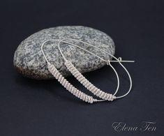 Silver Hoop Earrings Big Hoop Earrings Oval by SilverJewelryElena