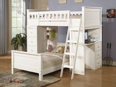 Bedroom, White Loft Bed Idea With Ladder Additional Trundle And Desk For Girls…