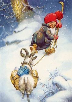 LARS CARLSSON GNOME and GOAT Sweden Tomte Nisse Santa Elf Card: