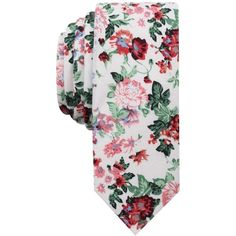 Original Penguin Men's Ashwood Floral Skinny Tie ($55) ❤ liked on Polyvore featuring men's fashion, men's accessories, men's neckwear, ties, white, mens white tie, mens ties and mens floral ties
