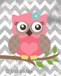 "Nursery Owl Print wall art ,Girls Owl Nursery Art  Wood Land Animals 8"" x 10"" print. $20.00, via Etsy."