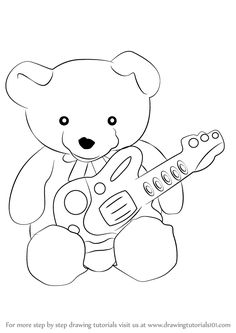 guitar cartoon draw - Αναζήτηση Google Step By Step Drawing, Drawing Tutorials, Learn To Draw, Cartoon Drawings, Picture Ideas, Guitar, Snoopy, Teddy Bear, Learning