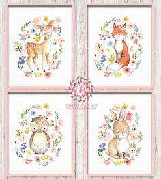 Lot Set 4 Boho Bunny Rabbit Fox Owl Deer Watercolor Bohemian Blush Floral Woodland Nursery Baby Girl Room Printable Print Wall Art Decor