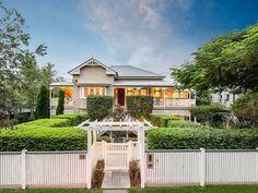 6 bedroom house for sale at 35 Marlborough Street, Sherwood QLD Front Gates, Front Fence, Entry Gates, Front Entry, Gate House, Facade House, House Exteriors, Queenslander House, Beach Mansion