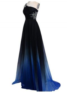 One Shoulder Cut Out Back Perlen blau Ombre Prom Kleid, langes formelles Kleid, . Ombre Prom Dresses, Prom Dresses Two Piece, High Low Prom Dresses, Prom Dresses For Teens, Dance Dresses, Homecoming Dresses, Bridesmaid Dresses, Formal Dresses, Dress Long