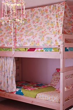 bunk bed tent... This gives me ideas.  Even doing it different and adding a sort of curtain around the top or up to the ceiling would be neat.  It is like a canapy bed meats bunk bed sort of thing.