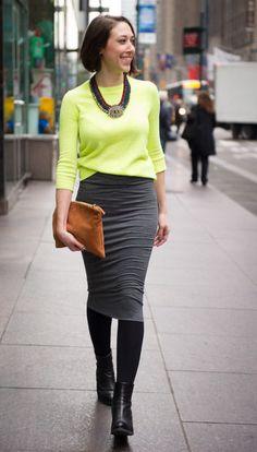 Neon + a pencil skirt