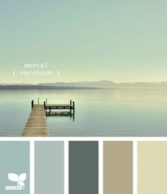 Mental vacation color palette by design seeds Pantone, Calming Colors, Zen Colors, Beach Cottage Decor, Coastal Cottage, Lake Cottage, Creative Colour, Design Seeds, Beach Cottages