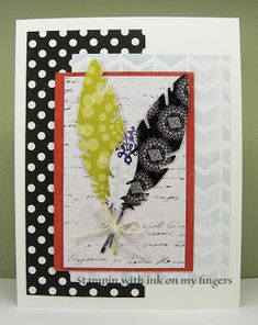 Ink On My Fingers - Handmade Custom Cards, Stamping and Crafting Blog: Script feather card - Always fun challenge #165 Feather Cards, Concord And 9th, Calendar Pages, Fun Challenges, Graduation Cards, Get Well Cards, Penny Black, Custom Cards, Gel Pens