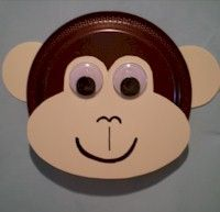 Monkey craft from a paper plate, paper & wiggle eyes