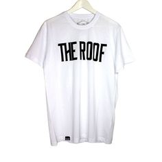 The Roof Team Logo White Tee   has a comfortable fit and made of a premium and sturdy cotton and an elastic round neck that offers comfortably and elastically on your skin.  Provides a good looking and a professional touch.
