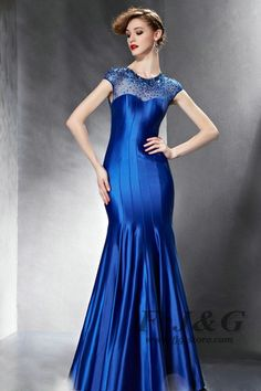 Blue Sweetheart Beading Tie Back Short Sleeve Mermaid Dress 82080