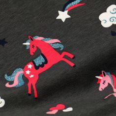 Ein absoluter Mädchentraum: Die Jerseybaumwolle in Anthrazit ist mit glitzernden Einhörnern bedruckt. Pink, Comforters Bed, Unicorn, Clouds, Blue, Cotton, Roses