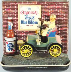 Pabst Beer Automotive Light Up Advertising Sign. Vintage Advertising Signs, Vintage Advertisements, Light Beer, Light Up, Vintage Beer Signs, Breaker Box, Pabst Blue Ribbon, Vodka Bottle, Liquor