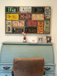 Handmade license plate collage for my office. Love the colors!
