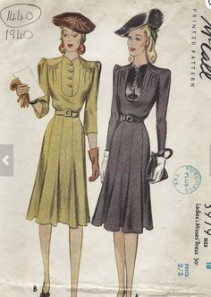 McCall 3979: Ladies' and misses' dress pattern from 1940