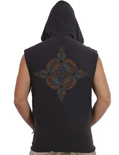 Mens Hooded Vest Psychedelic Mandala Screen printed Hood Vest - Steampunk - Burning Man - Fractal Print  Mens Vest with hoodie and pockets, comes in