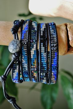 COSMOS 5 Wrap Black Leather Bracelet by BraceletsofBlueRidge, $118.00
