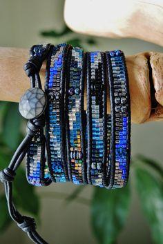 COSMOS 5 Wrap Black Leather Bracelet by BraceletsofBlueRidge