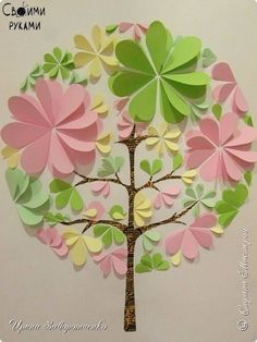 The painting mural drawing Workshop Application Bumagoplastika Panno Spring Heart + MK Paper 1 photo Easy Crafts, Diy And Crafts, Crafts For Kids, Arts And Crafts, Diy Paper, Paper Art, Paper Crafts, Diy Y Manualidades, Flower Tutorial