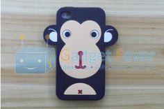 Apple iPhone 4 / 4S Happy Monkey Silicone Protective Case (Black)