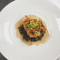 Sarasota's Center for Culinary Arts, Classical French students made poached salmon with le put lentils, persillade vegetables and a beyer rogue sauce.