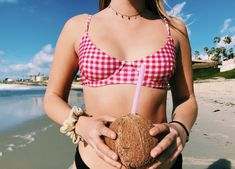 Willow Top in Cherry Gingham Summer Bikinis, Island Girl, Gingham, Cherry, Tropical, Swimming, Sexy, Swimwear, Travel