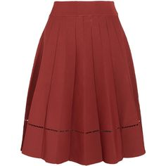 A.L.C. - Nicole Cutout Stretch-knit Skirt (€195) ❤ liked on Polyvore featuring skirts, brick, brick skirting, elastic waist skirt, red skirt, cut out skirt and red pleated skirt