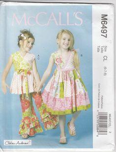 3fac440dd9c0 Girls Ruffled Bottom Pants Dress Top Size 6 - 7 - 8 uncut McCalls 6497