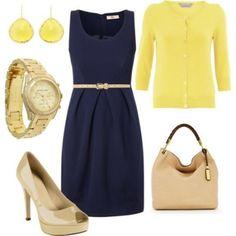 Синее платье и желтый кардиган