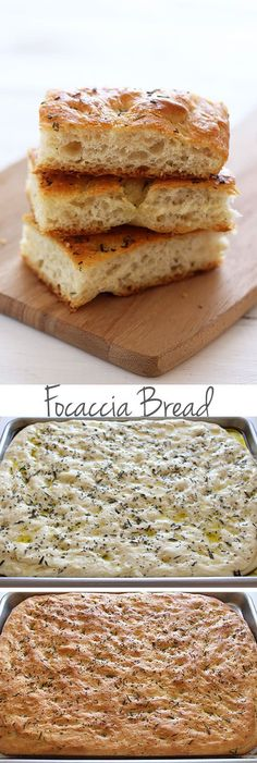 Focaccia Bread - so easy to make! Surprisingly simple but makes rich, flavorful, and chewy yet soft bread that you're going to love! Step-by-step pictures and video. - I added cherry tomatoes before baking, this was suuuuuper yummy! Yummy Recipes, Bread Recipes, Baking Recipes, Yummy Food, Scd Recipes, Cake Recipes, Recipies, Sweet Bread, Bread Baking
