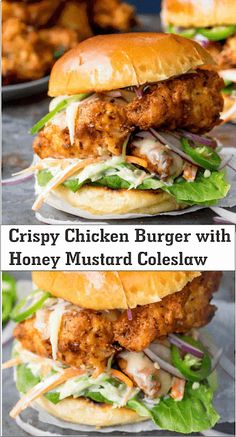 Crispy chicken burger with honey-mustard-coleslaw .- Crispy chicken burger with honey mustard coleslaw – Steak Recipes – New Recipes, Cooking Recipes, Favorite Recipes, Healthy Recipes, Easy Recipes, Recipies, Walnut Recipes, Grilling Recipes, Summer Recipes