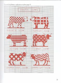 Cow pattern / chart for cross stitch, crochet, knitting, knotting, beading, weaving, pixel art, and other crafting projects