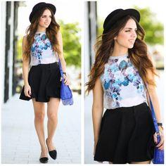 Daniela Ramirez - My Klozet Top, H&M Flats, Brahmin Bag, Blog - Blue floral
