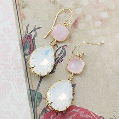 White Opal Swarovski Crystal with pink opal Glass Dangle Earrings - Earrings Nation