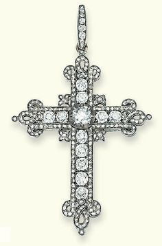 AN ANTIQUE DIAMOND CROSS  The Latin cross with old-cut diamond collet centre and line detail to the rose-cut diamond border with entwined ribbon motif to the cardinal points, circa 1870, 7.1 cm high