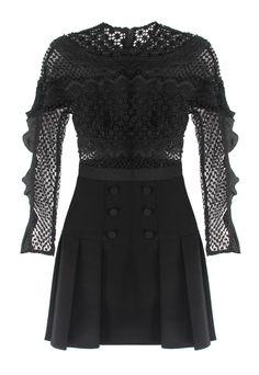 c162af3db5d6 Self-Portrait Bellis Lace trim Dress in black. Self-Portrait's feminine  midi dress